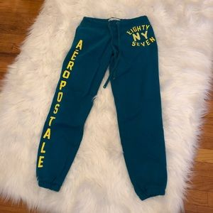 Aeropostale sweatpants, blue and yellow, small.